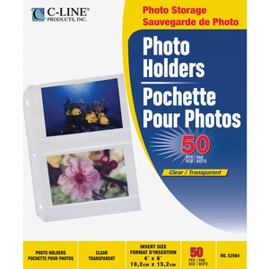 "C-line 3-Hole Polypropylene Photo Protector - 4 Capacity - 6"" x 4"" - 3-Ring Binding - 3-Hole Punched"