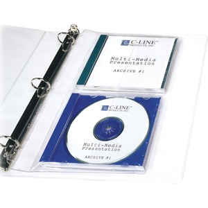 C-line CD Jewel Case Holder - For Ring Binder - 2 CD/DVD Capacity - Vinyl - 10 / Pack - Clear