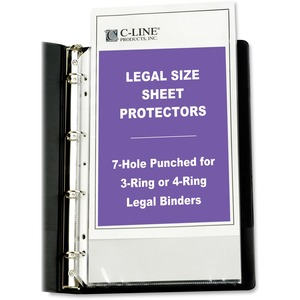 "C-line Top Loading Legal Sized Sheet Protector - For Ring Binder - Legal 8.5"" x 14"" - Polypropylene - 50 / Box - Clear"
