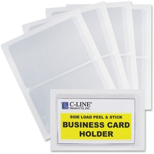 C-line Self-Adhesive Business Card Holder - Vinyl - 10 / Box - Clear