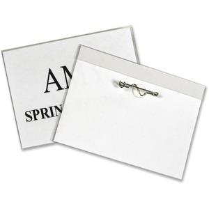 C-line Pin Style Name Badge Holder Kit - Vinyl - 100 / Box - Clear
