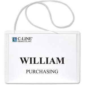 C-line Hanging Style Name Badge Holder - Vinyl - 50 / Box - Clear