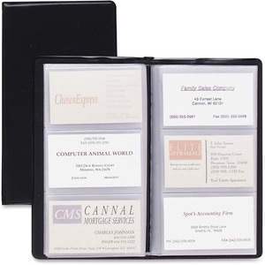 Cardinal Business Basics Sealed Vinyl 72 Card File - 72 Capacity - Black Vinyl Cover