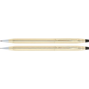Cross Classic Century 10 Karat Gold-Filled Pen & Pencil Set - 0.5 mm Lead Size - Black Ink - Gold Barrel - 1 Set