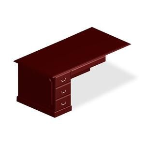 "DMi Governor Single Pedestal Desk - 72"" Width x 36"" Depth x 30"" Height - Single Pedestal on Left Side - Pressboard - Mahogany"