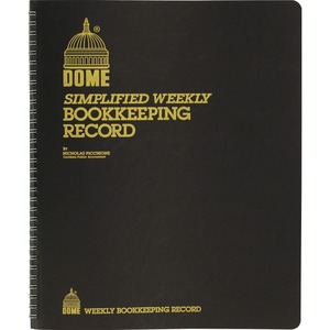 "Dome Publishing Simple Weekly/Monthly Accounting Book - 128 Sheet(s) - Wire Bound - 11"" x 9"" Sheet Size - 1Each"