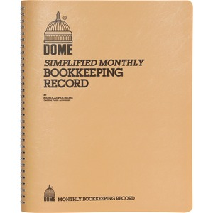 "Dome Publishing Simple Weekly/Monthly Accounting Book - 128 Sheet(s) - Wire Bound - 11.25"" x 8.75"" Sheet Size - White - 1Each"