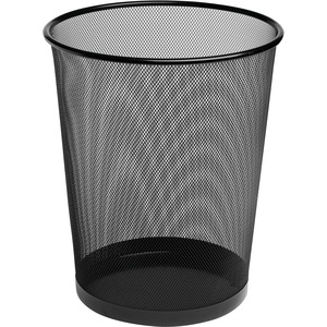 Rolodex Expressions Mesh Metal Wastebasket - Steel - Black