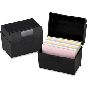 "Esselte Plastic Index Card Box With Lid - 400 x Card - External Dimensions 4"" Height x 6"" Width x - Plastic - Black"