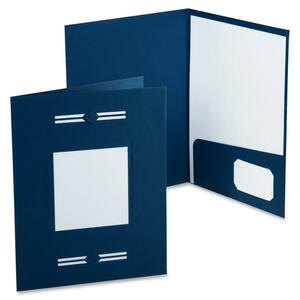 "Oxford LaserView Imperial Business Pocket Folder - 8.5"" x 11"" - Letter - 10 / Pack - Blue"