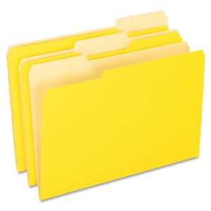 "Pendaflex Two-Tone Color File Folder - Legal - 8.5"" x 14"" - 1/3 Tab Cut - 100 / Box - 11pt. - Yellow"