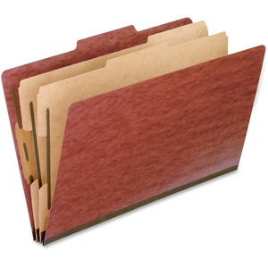 "Oxford Pressboard Classification Folder - Legal - 8.5"" x 14"" - 2/5 Tab Cut - 2 Divider - 2 Fastener - 2"" Capacity - 10 / Box - 25pt. - Red"