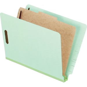 "Esselte Pressboard Classification Folder with Divider - Letter - 8.5"" x 11"" - 1 Divider - 2"" Expansion - 4 Fastener - 2"" Capacity - 10 / Box - 25pt. - Light Green"