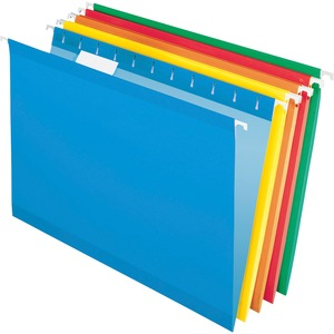 "Esselte Hanging Folder - Legal - 8.5"" x 14"" - 1/5 Tab Cut - 25 / Box - Blue, Red, Yellow, Orange, Green"