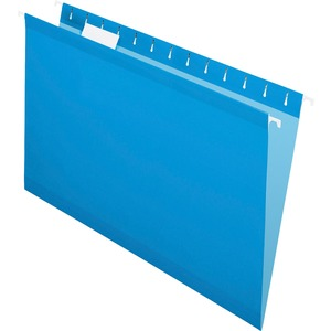 "Esselte Hanging Folder - Legal - 8.5"" x 14"" - 1/5 Tab Cut - 25 / Box - Blue"