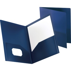 "Oxford Polypropylene Twin Pocket Portfolio - 8.75"" x 11.25"" - 1 / Each - Dark Blue"