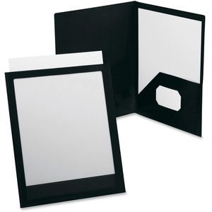 "Oxford ViewFolio Twin Pocket Window Portfolio9.5"" x 11.62"" - 1 Each - Black"