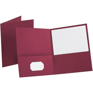 "Oxford Twin Pocket Portfolio - Letter - 8.5"" x 11"" - 100 Sheet Capacity - 25 / Box - Burgundy"