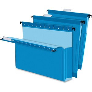 "Esselte Hanging Box File Folder - 3"" Expansion - 8.5"" x 11"" - Letter - 25 / Box - Blue"