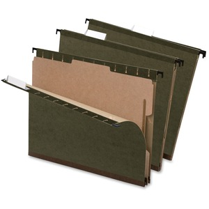 "Esselte Hanging File Folder with Dividers - Legal - 8.5"" x 14"" - 2"" Expansion - 1"" Capacity - 10 / Box - Green"