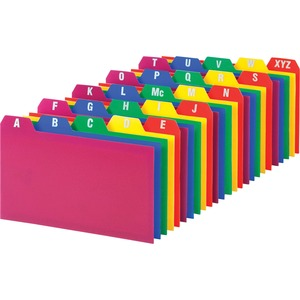 "Esselte A-Z Durable 1/5 Cut Tab Poly Card Guide - 5 Tab(s)/Set - 5"" x 3"" - 25 / Set - Assorted Divider"