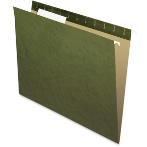 "Esselte Hanging File Folder - Letter - 8.5"" x 11"" - 1/3 Tab Cut - 25 / Box - Green"