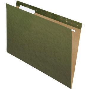 "Esselte Hanging File Folder - Legal - 8.5"" x 14"" - 1/3 Tab Cut - 25 / Box - Green"