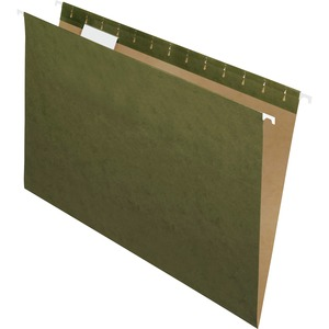 "Esselte Hanging File Folder - Legal - 8.5"" x 14"" - 1/5 Tab Cut - 25 / Box - Green"