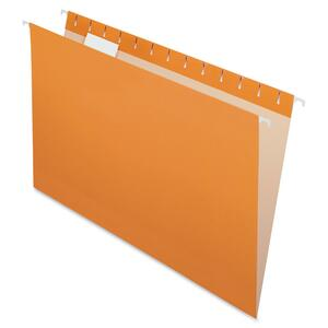 "Esselte Hanging Folder - Legal - 8.5"" x 14"" - 1/5 Tab Cut - 25 / Box - Orange"