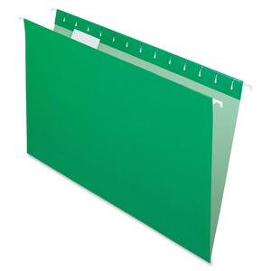 "Esselte Hanging Folder - Legal - 8.5"" x 14"" - 1/5 Tab Cut - 25 / Box - Bright Green"
