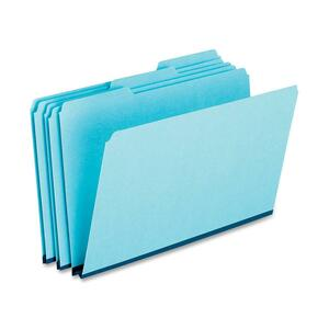 Pendaflex Pressboard File Folder - Legal - 8.5&quot; x 14&quot; - 1/3 Tab Cut - 1&quot; Expansion - 25 / Box - 25pt. - Blue