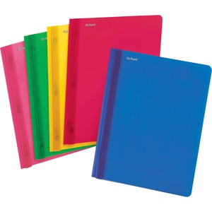 "Oxford Oxford Fashion Clear Front Report Cover - 9.37"" x 11.62"" - 3 Fastener - 30 Sheet - 25 / Box - Blue, Red, Yellow, Pink, Green"