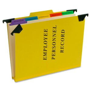 "Pendaflex Hanging Style Personnel Folder - 9.5"" x 11.75"" - 1/3 Tab Cut - 5 Divider - 2"" Expansion - 1"" Capacity - 1 Each - 20pt. - Yellow"