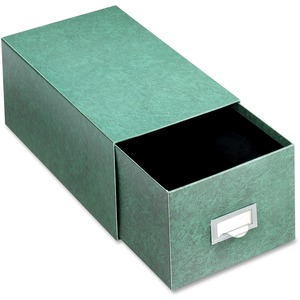 "Globe-Weis Heavy duty Index Card Storage Drawer - Internal Dimension 5"" Height x 8"" Width x 14.5"" Depth - Fiberboard - Green"