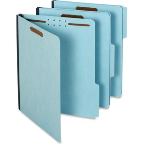 "Globe-Weis Recycle Pressboard File Folder with Fasteners - Letter - 8.5"" x 11"" - 1/3 Tab Cut - 1"" Expansion - 2 Fastener - 2"" Capacity - 25 / Box - 25pt. - Blue"