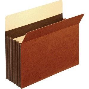 "Globe-Weis Expansion File Pocket - Letter - 8.5"" x 11"" - 5.25"" Expansion - 1 Each - 24pt. - Brown"