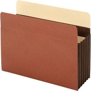 "Globe-Weis Extra Wide Accordion File Pocket - Letter - 8.5"" x 11"" - 5.25"" Expansion - 1 Each - 24pt. - Brown"
