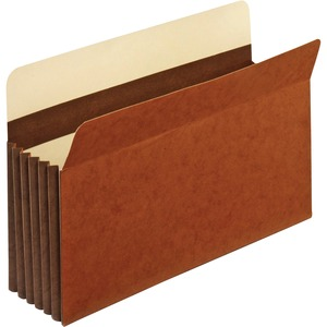 "Globe-Weis Expansion File Pocket - Legal - 8.5"" x 14"" - 5.25"" Expansion - 1 Each - 24pt. - Brown"