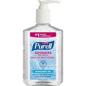 Gojo PURELL Instant Hand Sanitizer - 8fl oz - Pump Bottle Dispenser - Dye-free, Non-toxic, Hypoallergenic, Moisturizing - Clear