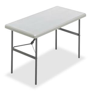 "Iceberg IndestrucTable TOO Folding Table - Rectangle - 24"" x 48"" x 29"" - Steel, Polyethylene - Gray Leg, Platinum Top"