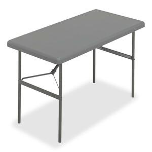 "Iceberg IndestrucTable TOO Folding Table - Rectangle - 24"" x 48"" x 29"" - Steel, Polyethylene - Gray Leg, Charcoal Top"