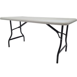 "Iceberg Indestruc Table Too Folding Table - Rectangle - 30"" x 60"" x 29"" - Steel, Polyethylene - Platinum, Gray Leg"