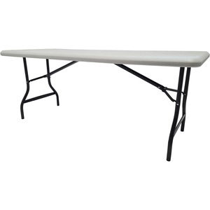 "Iceberg IndestrucTable TOO Folding Table - Rectangle - 30"" x 72"" x 29"" - Steel, Polyethylene - Gray Leg, Platinum"