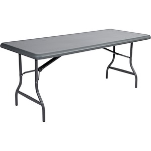 "Iceberg IndestrucTable TOO Folding Table - Rectangle - 30"" x 72"" x 29"" - Steel, Polyethylene - Gray Leg, Charcoal"