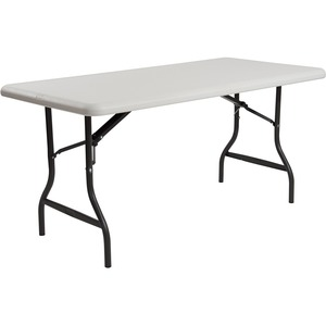 "Iceberg IndestrucTable TOO Folding Table - Rectangle - 96"" x 30"" x 29"" - Steel, Polyethylene - Gray Leg, Platinum Top"