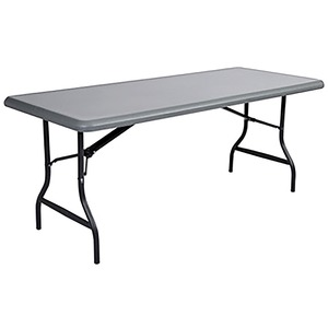 "Iceberg Indestruc Table Too Econ Folding Table - Rectangle - 96"" x 30"" x 29"" - Steel, Polyethylene - Gray Leg, Charcoal"