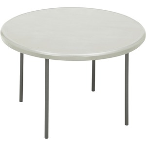 "Iceberg Indestruct-Table Too Round Folding Table - Round x 29"" - 48"" - Steel, Polyethylene - Gray Leg, Platinum"