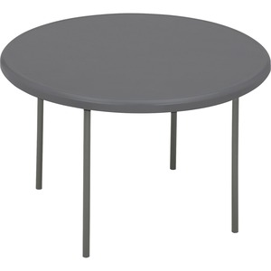 "Iceberg IndestructTable TOO Folding Table - Round x 29"" - 48"" - Steel, Polyethylene - Gray Leg, Charcoal"