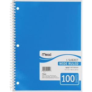 "Mead One Subject Notebook - 100 Sheet(s) - Wide Ruled - 8"" x 10.5"" - 1 Each - White"