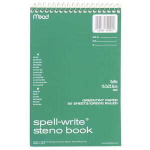 Mead Spell-Write Steno Book - 80 Sheet(s) - Gregg Ruled - 6&quot; x 9&quot; - 1 Each - Green